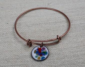 Multi Colored Copper Bangle, Copper Bangle, Copper Bracelet, Copper Enameled Jewelry, Abstract Bangle, Colorful Charm Bangle, Colorful
