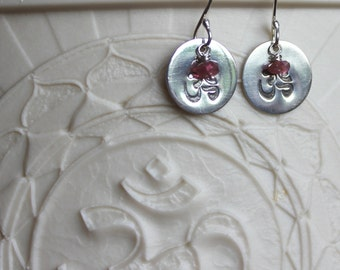 Ohm Symbol Fine Silver Disc Earrings with Ruby Stones
