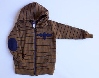 toddler boy clothing- EAGLE PATCH HOODIE - boys sweatshirt - hoodie - 4T - stripes - eagle - navy - brown - gift for boys - fall - sale
