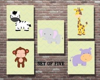Jungle Nursery Decor, Animal Nursery Decor, Zoo Animals, Wild Life, Safari, INSTANT DOWNLOAD, YOU Print, Nursery Decor, Baby Boy Girl Gifts