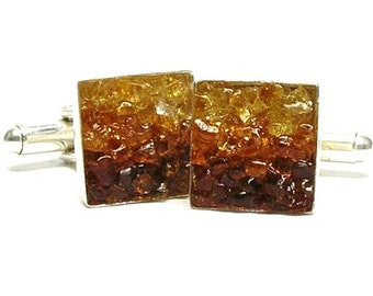 Amber Cuff Links - Custom Mosaic Cuff Links