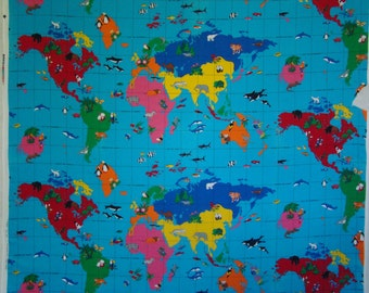 Vintage Protect the Wildlife, Love the Earth Fabric