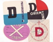 Set of 4  x Vintage Cruise Liner Australia P&O Luggage Labels for Crafting or Collecting