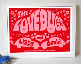 Personalised 'Lovebugs' Wedding, Engagement Or Anniversary Print