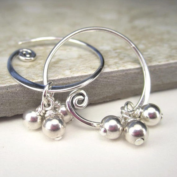 Sterling Silver Spiral Earrings Spiral Hoop Tiny Dangle Minimalist Interchangeable Earring Charms