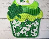 Shamrock Cupcake - Iron On or Sew On Embroidered Custom Made Applique