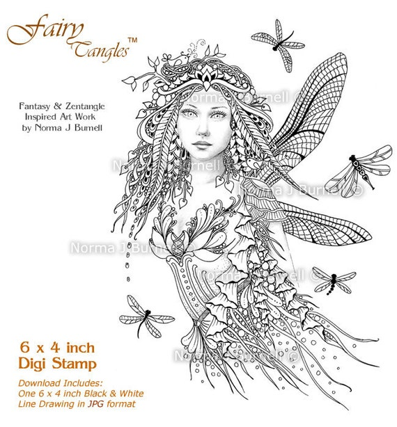 Items Similar To Dragonflies Fairy Tangles Digital Stamp