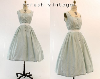 50s Dress Organza Medium / 1950s Vintage Dress Floral  / Sweet Blues Frock
