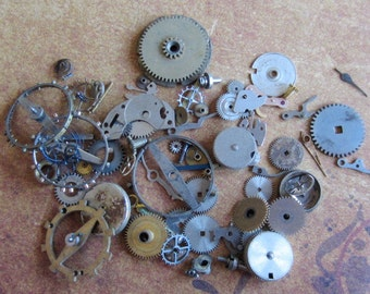 Vintage WATCH PARTS gears - Steampunk parts - c9 Listing is for all the watch parts seen in photos