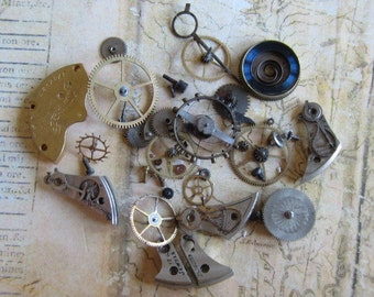 Vintage WATCH PARTS gears - Steampunk parts - x83 Listing is for all the watch parts seen in photos