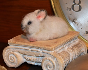 Miniature white with seal point muzzle baby Bunny Rabbit   Artist OOAK Alpaca Needle Felted Sculpture