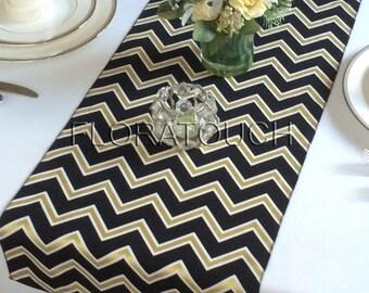 White Black and Gold Chevron Table Runner Wedding Table Runner