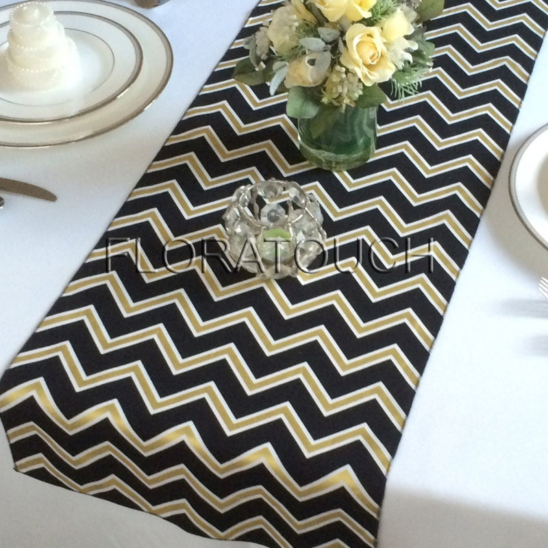 white black and gold chevron table runner wedding table runner. Black Bedroom Furniture Sets. Home Design Ideas