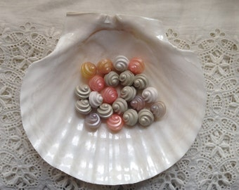 Vintage Faux Shell Buttons, Pastel Corkscrews, Shank Button for Jewelry Making and Crafting