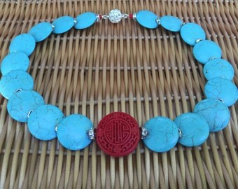 Blue Red Crystal Rhinestone Necklace Cinnabar Beaded Statement Necklace Chunky Turquoise Stone Jewelry Gifts Idea