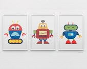 Baby Robots Art Set Collection, wall art gallery for boys nursery in bold primary colors