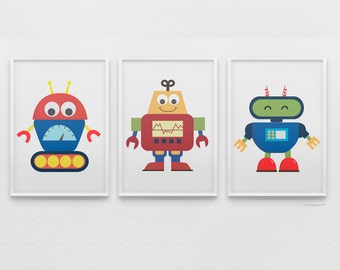 Baby Robots Art Set Collection Printable - Digital Art Download - 8x10 Print Sizes, Boys Bedroom Wall Art Gallery, Boys Nursery Art