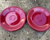 Two Fiestaware salad plates, retired color Cinnabar