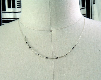 """BDSM Day collar; Black and Silver beads spell """"Kitten"""" in Morse Code"""