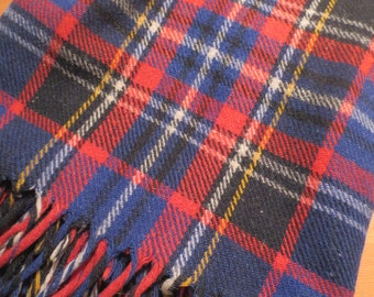 """Vintage Blue Red Yellow Plaid Wool Blanket Table Cover Plaid Throw 50 x 62"""" Old Heavy Wool"""