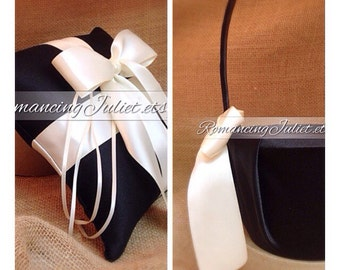 Custom Colors Flower Girl Basket and Romantic Satin Ring Bearer Pillow Set...You Choose The Colors..shown in black/ivory