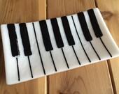Fused Glass Piano Keyboard Music Tray