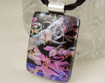 Dichroic Fused Glass Pendant - Mosaic Pendant - Dichroic Glass - Abstract Mosaic Necklace - Dragonfly Necklace X6781