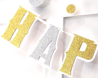 HAPPY BIRTHDAY Banner - Gold and Silver Glitter on White - You Choose Colors