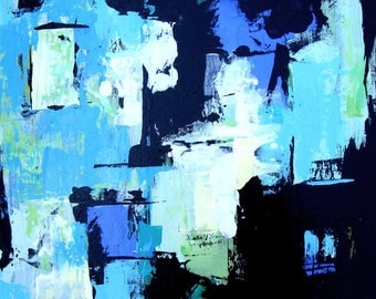 """Turquoise Original Abstract Acrylic Painting on canvas, 18"""" x 18"""", Modern Home Decor, Black Wall Art"""