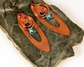 Bohemian Jewelry, Boho Earrings, Copper Spirals