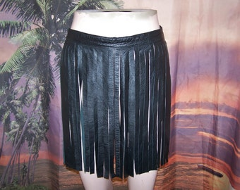 Leather Fringe skirt, Black Fringed Leather, Black leather mini, size XS