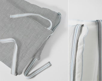 Luxe french connection - Crib Bumper / Bumperless / Teething guard - made with linen