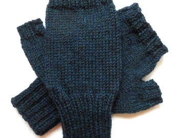 Texting Gloves for Men, Teen Boys, Handknit Fingerless Gloves, Hand Warmers, knitted gloves, men's mitts, navy and green heather, size M/L