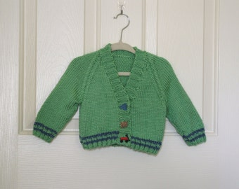 Hand Knit Baby Sweater -  Green with Blue Stripes Baby Sweater with Matching Boys Rule Buttons