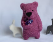 A blueberry pnk bear brooch