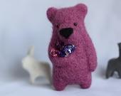 A blueberry pnk bear brooch