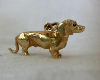 Dachshund Vintage 14k Gold Charm