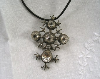 Antique Georgian Cross Pendant/Brooch in Silver and Paste Circa Mid 1700's