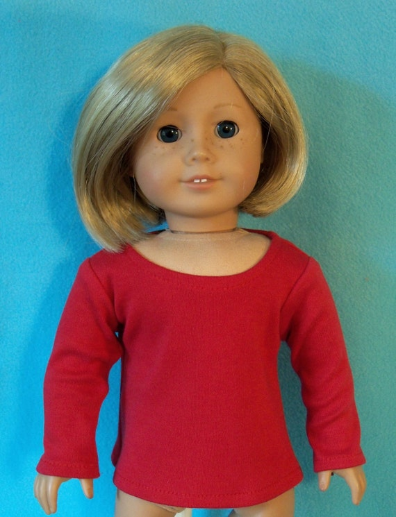 American Made 18 inch Doll Long Sleeved Red Scoop Neck T-Shirt