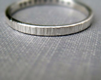 Wood Texture 2mm Personalized Ring - Sterling Silver