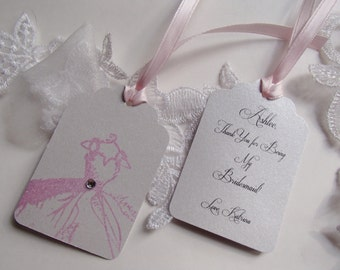 Personalized Bridesmaid Handmade Hang Tag for Favor,Gift Bag-Hand stamped-embossed dress with Crystal- Choose your color of dress- Customize