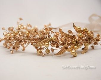 Rustic Gold Bohemian Wedding Wreath  bridal crown Headpiece of Golden Babies Breath and Metal Leaves Gold Flower Crown Headband Boho Wedding