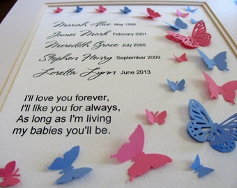 MAX 5 Names Love You Forever Personalized 3D Butterfly Art. Multiple Infant Loss, Miscarriage, Stillbirth. 8x10. Made to Order