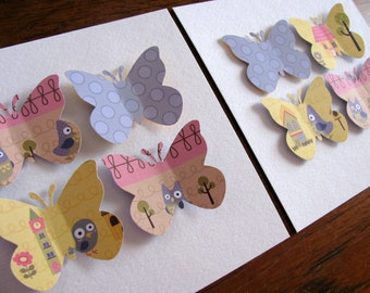 Inventory CLEARANCE SET of TWO 5x5 inch 3D Butterfly Art Creations As Shown. Pink, Blue Lilac, Yellow. Owls, Birds, House. For Girls