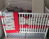 Crib Bedding Set in Vintage Airplanes Red and Blue Made to Order