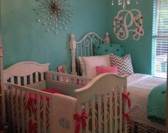 Baby Girl Crib Bedding Set Aqua Gray and Pink Made to Order DEPOSIT