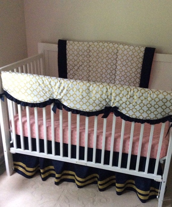 RESERVED Baby Bedding Crib Set Navy Coral and Gold