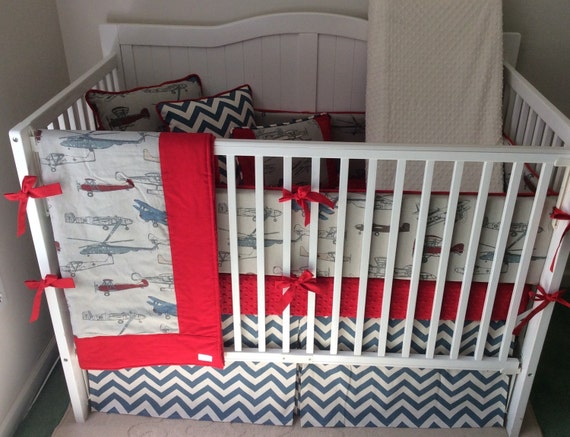 Baby Boy Crib Bedding Set in Vintage Airplanes Red and Blue