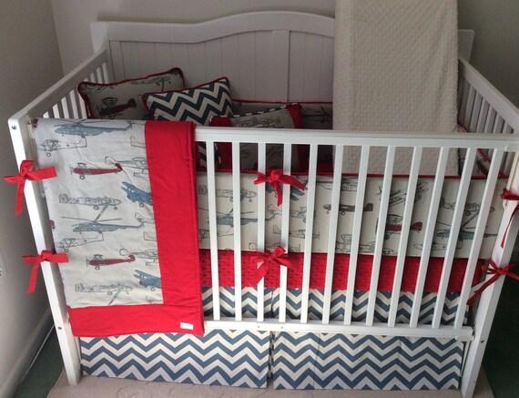 Baby boy crib bedding set in vintage airplanes red and blue - Airplane crib bedding sets ...