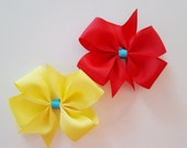 """Hair bow- Girls Yellow or Red with Aqua center 4"""" pinwheel bow on alligator clip- Ship FREE with any Milestone Sticker purchase from my shop"""